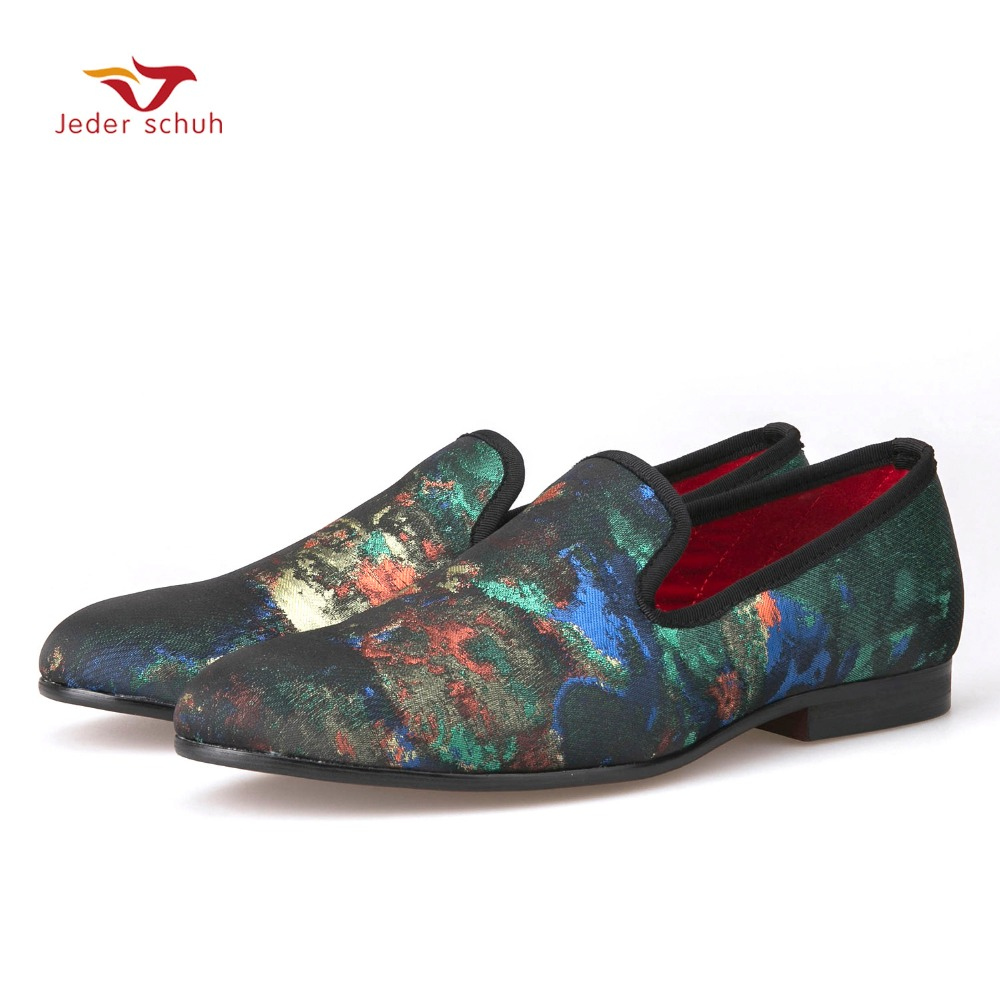 2017 Italian design abstract painting  Causal Shoes Men Plus Size Loafers Smoking Slippers Men's Flats Size 6-15 Free shipping italian visual phrase book