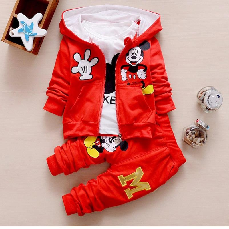 2017 New Chidren Kids Boys Clothing Set Autumn Winter 3 Piece Sets Hooded Coat Suits Fall Cotton Baby Boys Clothe 0-3Y