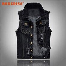 Vintage Design Men's Denim Vest Male Black Color Slim Fit Sleeveless Jackets Men Hole Jeans Brand Waistcoat  6XL G259