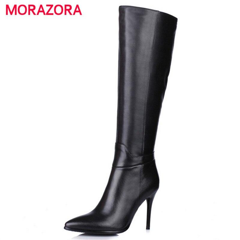 MORAZORA New arrive women knee high boots platform motorcycle boots thin high heels autumn winter pu