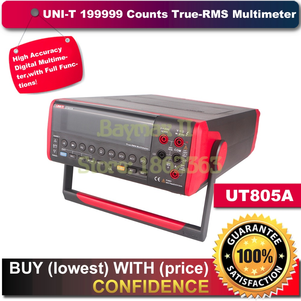 UNI-T UT805A 199999 Counts High-Accuracy Ture RMS LCD Bench Top Digital Multimeter Volt Amp Ohm Capacitance Hz Tester uni t ut70b lcd digital multimeter volt amp ohm temp capacitance tester