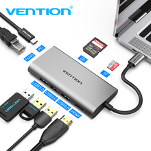 лучшая цена Vention USB C to 3.0 HUB HDMI RJ45 PD SD/TF Card Reader Adapter for MacBook Samsung S9/S8 Huawei P20Pro Type-C Docking station