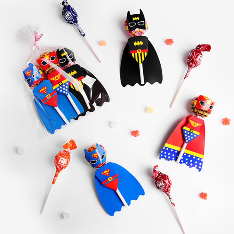 54Pcs Superman Batman Cartoon Candy Lollipop Decoration Cards For Kids Birthday Party Supplies Candy Gift Accessories