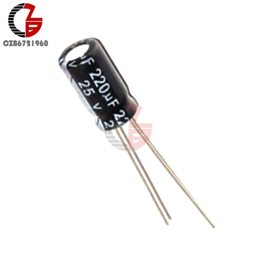 10 pièces 220 uF 25 V 105C 6mm * 12mm Condensateurs Électrolytiques Radiaux NOUVEAU