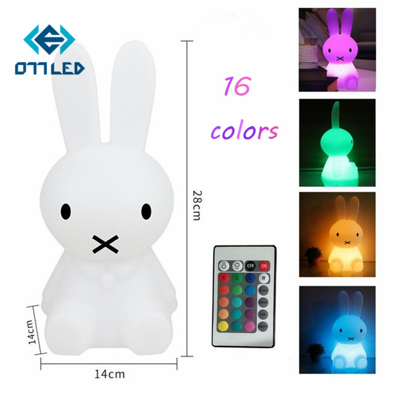 16 colors 28CM Rabbit LED Night Light Dimmable Cartoon Atmosphere Gift New Lamp With Remote USB Rechargeable Light For Baby Room beiaidi 7 color usb rechargeable rabbit led night light dimmable animal cartoon light with remote baby kids christmas gift lamp