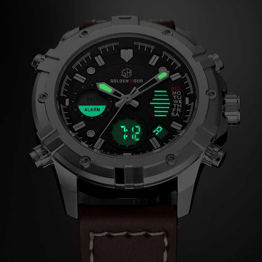 GOLDENHOUR hommes montres haut de gamme de luxe Quartz analogique numérique montre hommes en cuir militaire Sport montre-bracelet homme Relogio Masculino