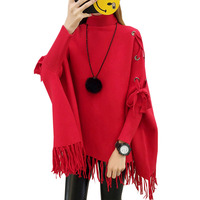Women Bat Sleeved Sweaters Capes Ponchos Spring Autumn Long Knitted Turtleneck Tassel Capes Female Casual Jackets FP1544