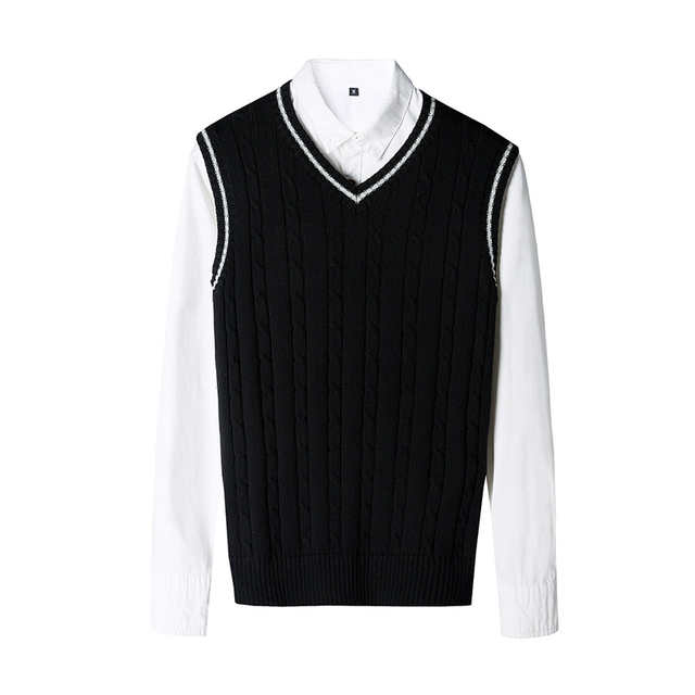 100% Cotton Solid V Neck Casual Male Sweater 1