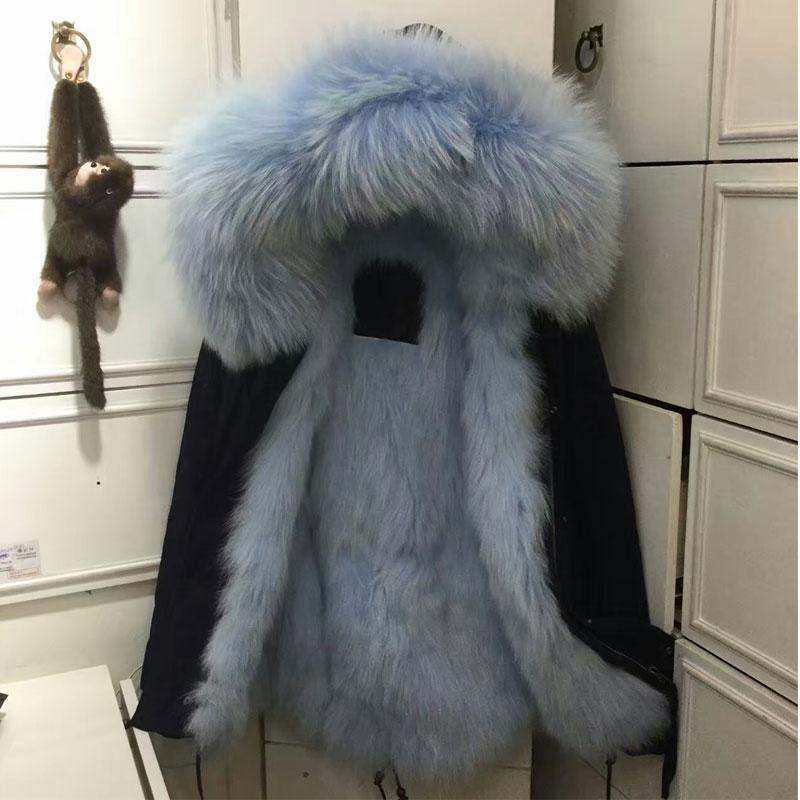 Sky blue  fox fur wristbands.
