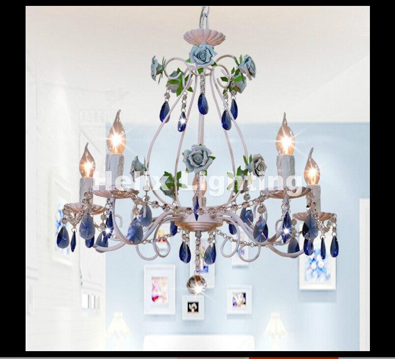 Modern White Blue Rose Style Chandelier Light Luxury Decorative Pendant Lamp Indoor Iron Crystal Chandelier Dining Room Lighting