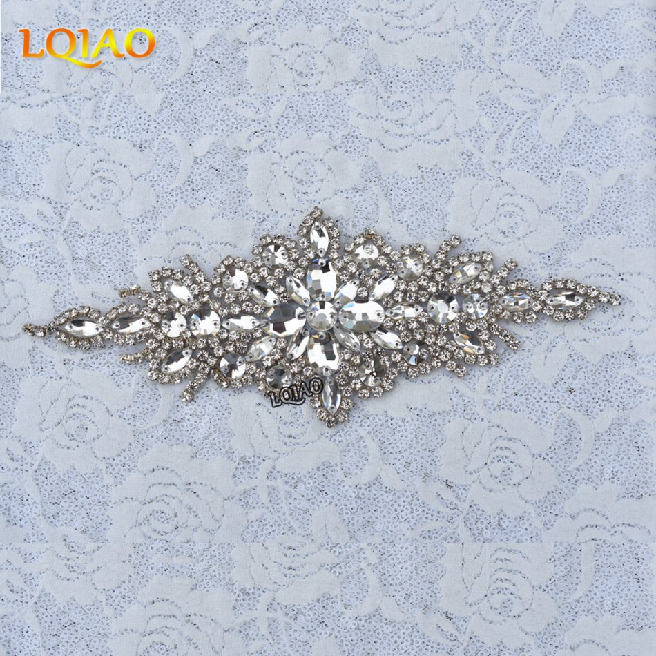 2017 New Arrival 1pcs Hanmdade Iron on Beaded Bridal Sash Crystal ...