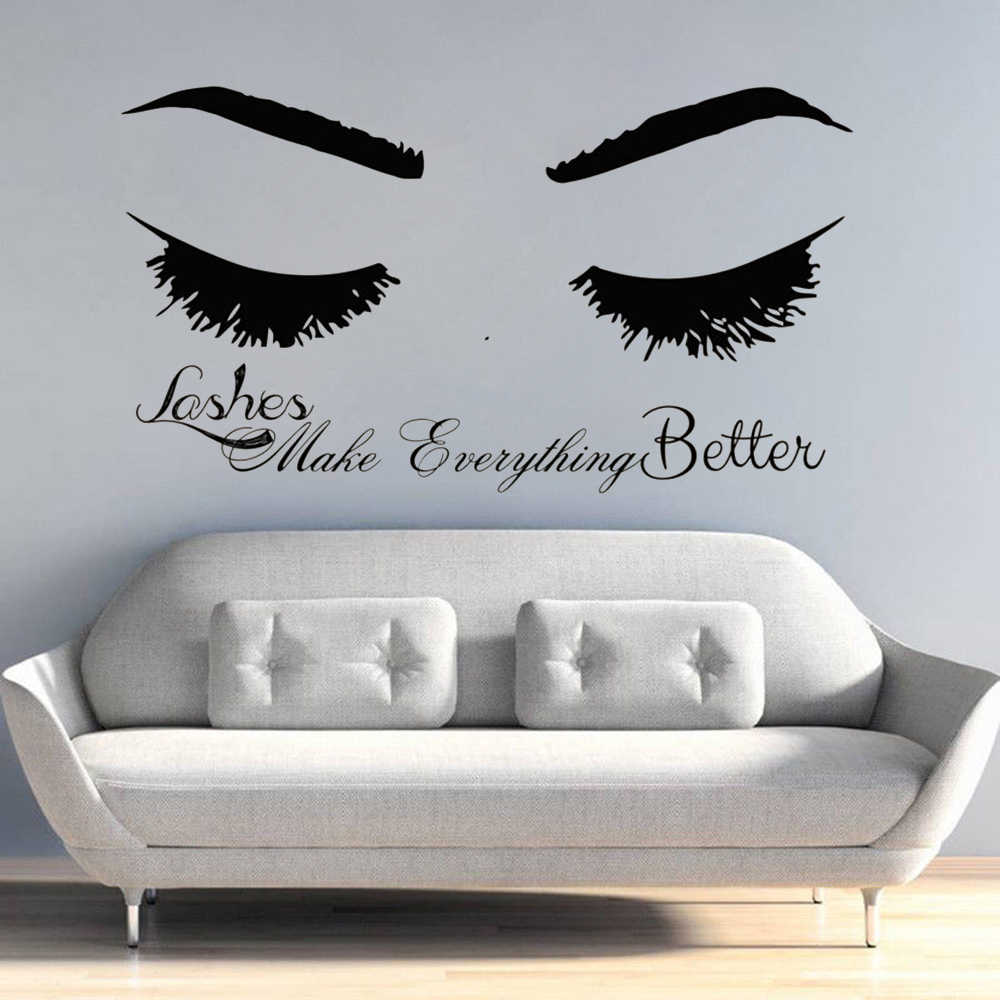 334927662cd Eyelash Wall Decal Long Lashes Wall Sticker Beauty Salon Decoration  Eyelashes Quote Wall Art Mural Vinyl