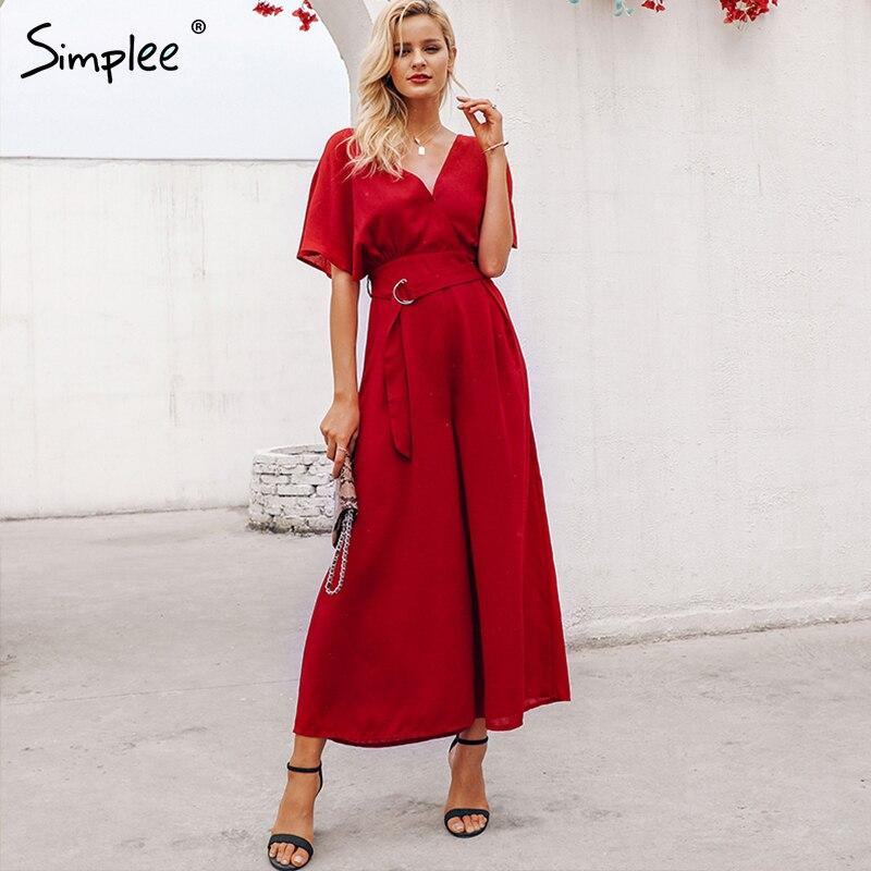 Simplee Red ruffle sleeve jumpsuit women sexy deep v neck spring 2019 jumpsuit Elegant sash wide leg elegant streetwear jumpsuit