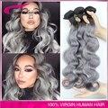 #1b/gray hair extensions body wave Peruvian virgin hair 3pc/lot Peruvian grey hair weave ombre gray hair free shipping