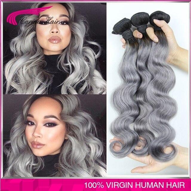 # 1b/gris del pelo extensiones onda del cuerpo del pelo virginal Peruano 3 pc/lot Peruana armadura del pelo gris ombre pelo gris envío gratis