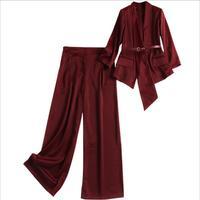 Elegant Two Piece Set 2019 Spring Women Long Sleeve Irregular Satin Blazer with belt +Wide Leg Full Pant 2 Pcs Set Suit