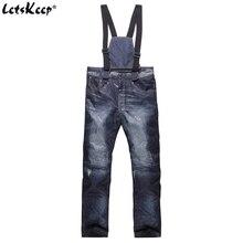 LetsKeep High quality bib overalls for men baggy vintage jumpsuits men waterproof hip hop overalls jean male plus size MA412