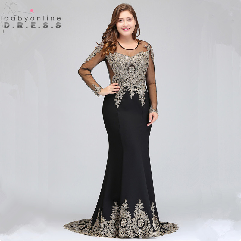 Plus Size 26W Mermaid Lace Long Sleeve Evening Dress Sexy Beaded Crystals Evening Gowns Vestido De Festa Longo Abendkleider