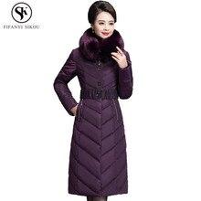 03008c1ebb Kurtka zimowa kobiety długi z kapturem bawełny ciepła ocieplana kurtka Plus  rozmiar Slim znosić grube ciepłe