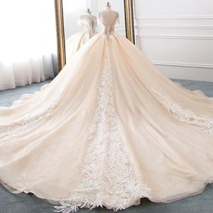 Image 2 - New Arrival High Neck Ball Gown Wedding Dresses Princess Tulle Hochzeitskleid Tassel Sleeves Abiti da Sposa Sparkly Robe Mariee