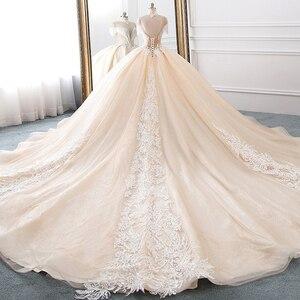 Image 2 - Vestido de novia de cuello alto, novedad, vestidos de princesa de tul, Hochzeitskleid, Mangas de borla, Abiti da Sposa, brillante, Mariee