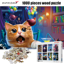 MOMEMO Astonished Cat 1000 Pieces Puzzle Wooden Assembling Puzzles Game Entertainment Toys Puzzle 1000 Pieces for Adult Kids momemo the cat and night sky pattern puzzle 1000 pieces wooden adult entertainment puzzle 1000 pieces puzzle assembling game