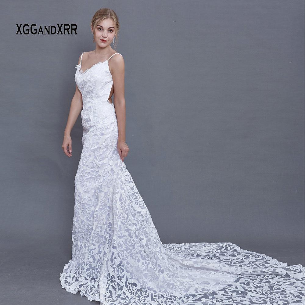 Романтическое кружевное свадебное платье русалки 2018 милое платье для невесты Спагетти корт поезд пляжные платья невесты белые пикантные с