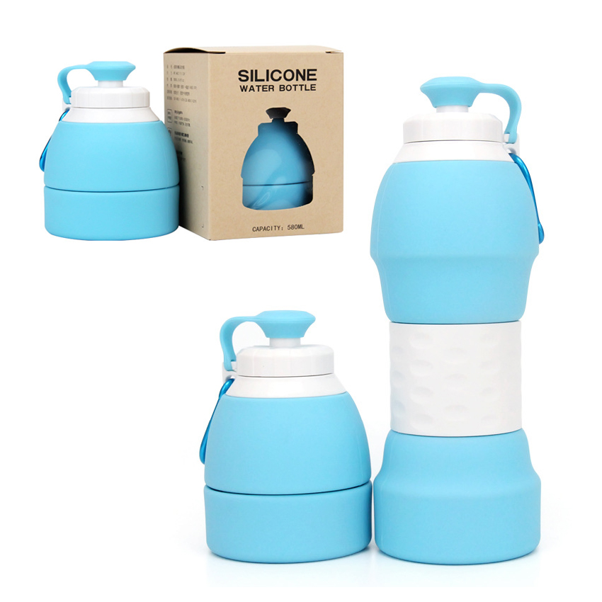 580ml Collapsible Silicone Water Bottle Sports Canteen Outdoor Travel Hiking
