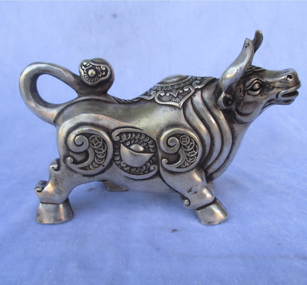 6 Inch Tibetan Silver Carved Money Cattle Statue/Chinese Folk Art Cow Sculpture
