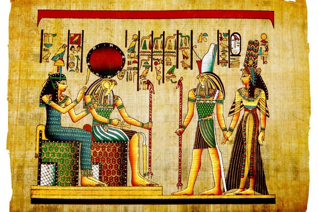 Egyptian Paintings On Papyrus Canvas