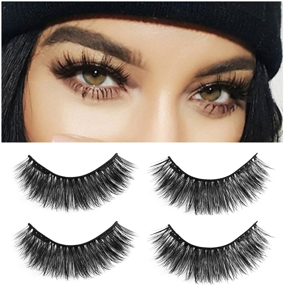 1/2Pair Dual Magnetic False Eyelashes On Magnets Natural Lashes Extension Tools Reusable Fake Eye Lashes Glue-free Beauty Makeup