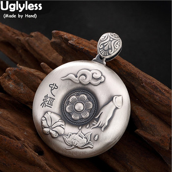 Uglyless Heart Sutra Round Pendants for Women Real 99.9% Pure Silver Buddha Hand Lotus Leaf Necklaces NO Chains Buddhism Jewelry