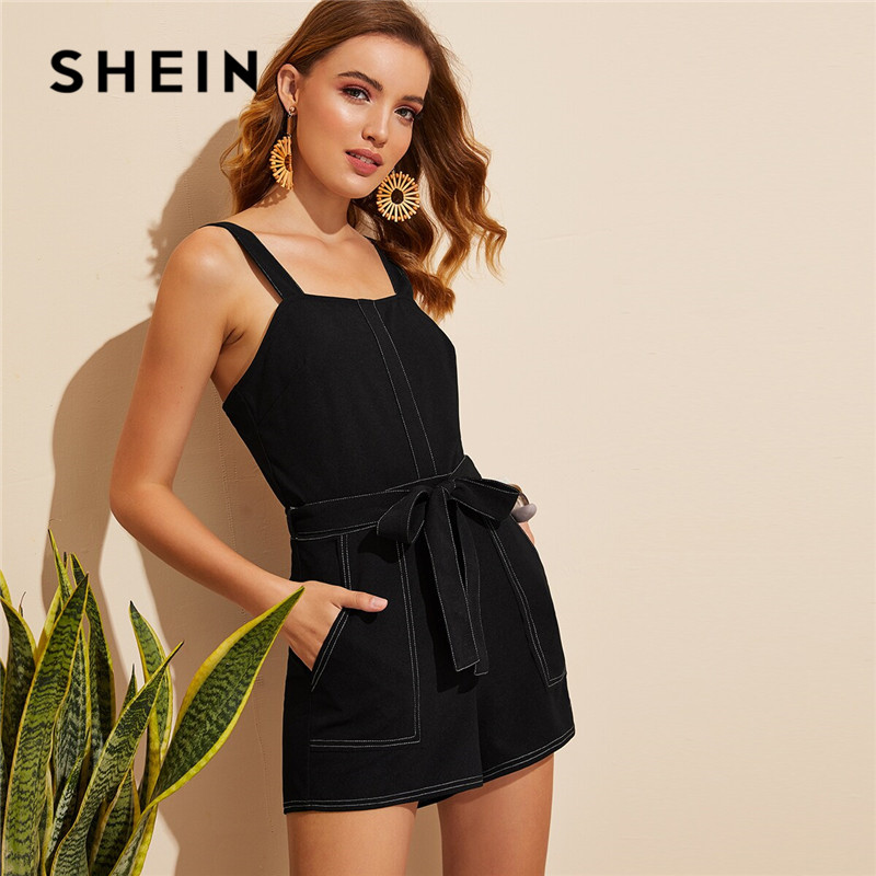 SHEIN Pocket Patched Belted Contrast Stitch Romper Women Black Square Neck Mid Waist Playsuit Summer Solid Sleeveless   Jumpsuit