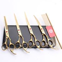 Z3003 5Pcs Set 7'' 19.5cm Gold Professional Pets Hair Steel Comb + Cutting Shears + Thinning Scissors + Dogs Cats Curved Shears