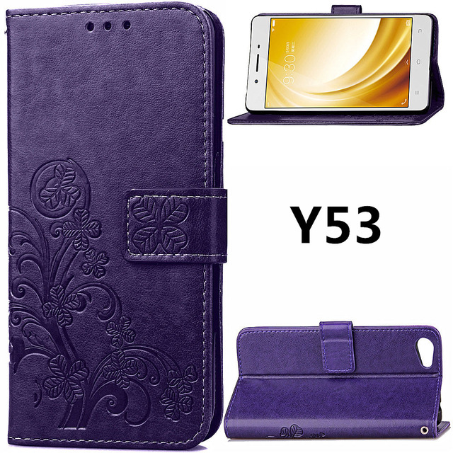 on sale 6ba28 d6ee5 US $4.74 5% OFF|Aliexpress.com : Buy Y53 Sculpture Emboss Leather Case for  Vivo Y53 Cover Flip Stand Card Slot Wallet Cases Black Covers Y 53 for ...