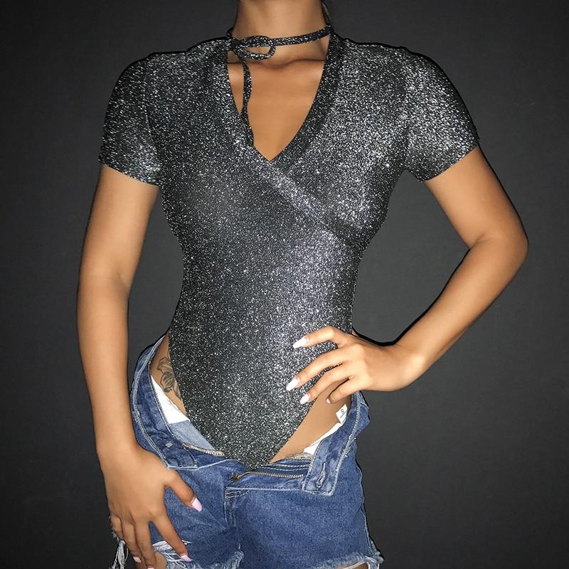 Women Ladies Bodysuit Stretch Leotard Short Sleeve Body Tops T shirt Jumpsuit