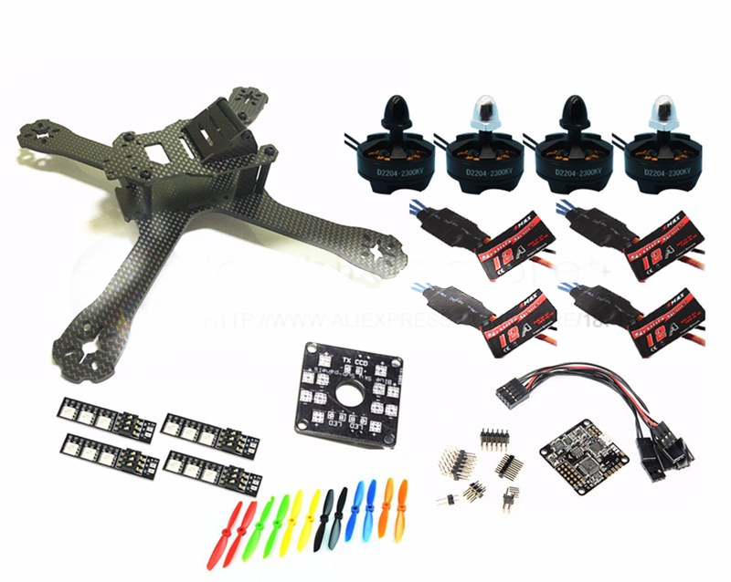 DIY FPV mini drone QAV-X 5 214mm pure carbon frame kit D2204 2300KV+EMAX Simon K / BLHeli 12A ESC + NAZE32 Rev6 10DOF diy mini drone fpv race nighthawk 250 qav280 quadcopter pure carbon frame kit naze32 10dof emax mt2206ii kv1900 run with 4s