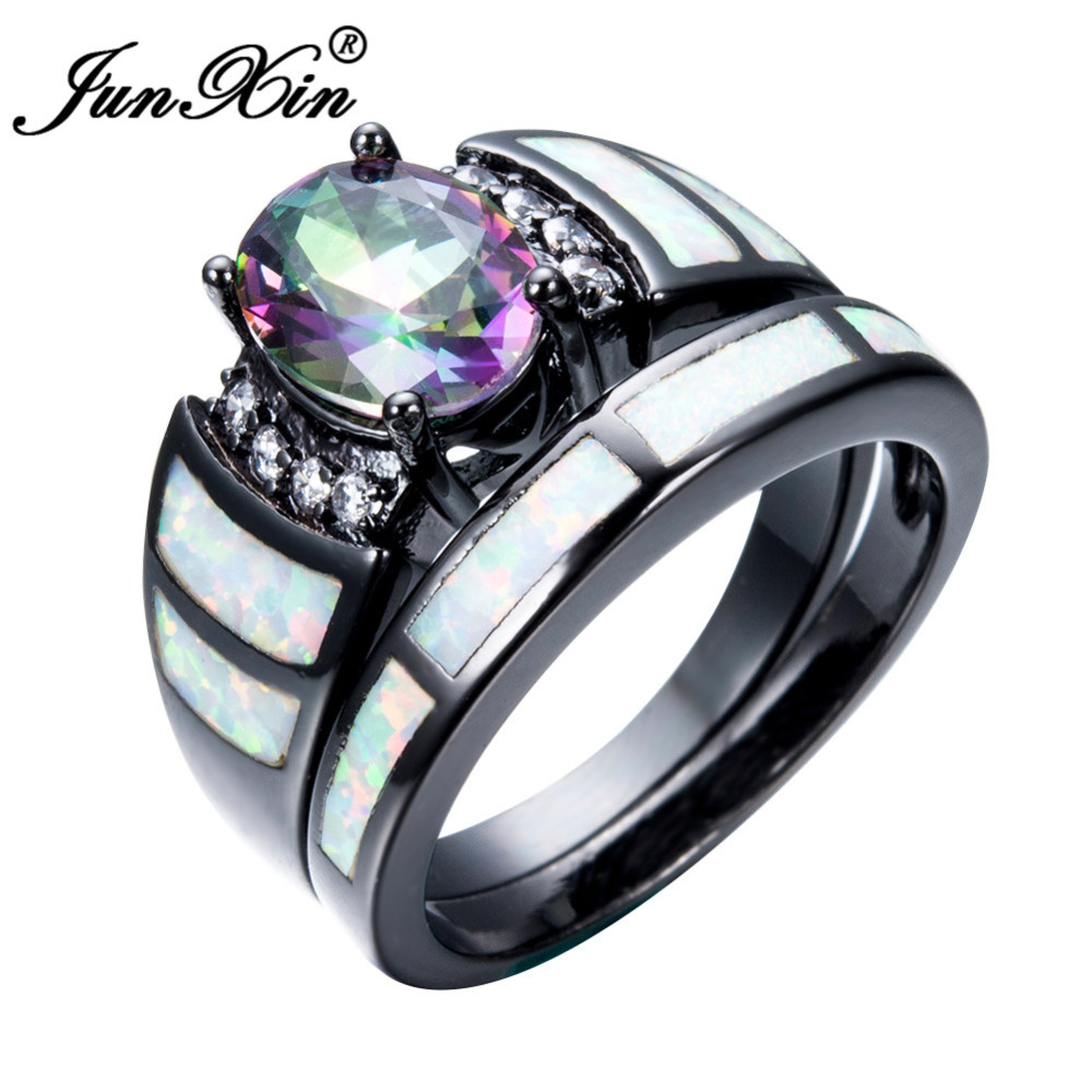 JUNXIN Unique Rainbow Fire Opal Finger Ring Sets For Female Male Black Gold  Filled Wedding Party Engagement Couple Ring Anillos In Rings From Jewelry  ...