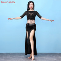 2018 New Style Belly Dance Costume Set Belly Dance Clothes indian Dance Top+Split Long Skirt 2pcs Set Stage Performance