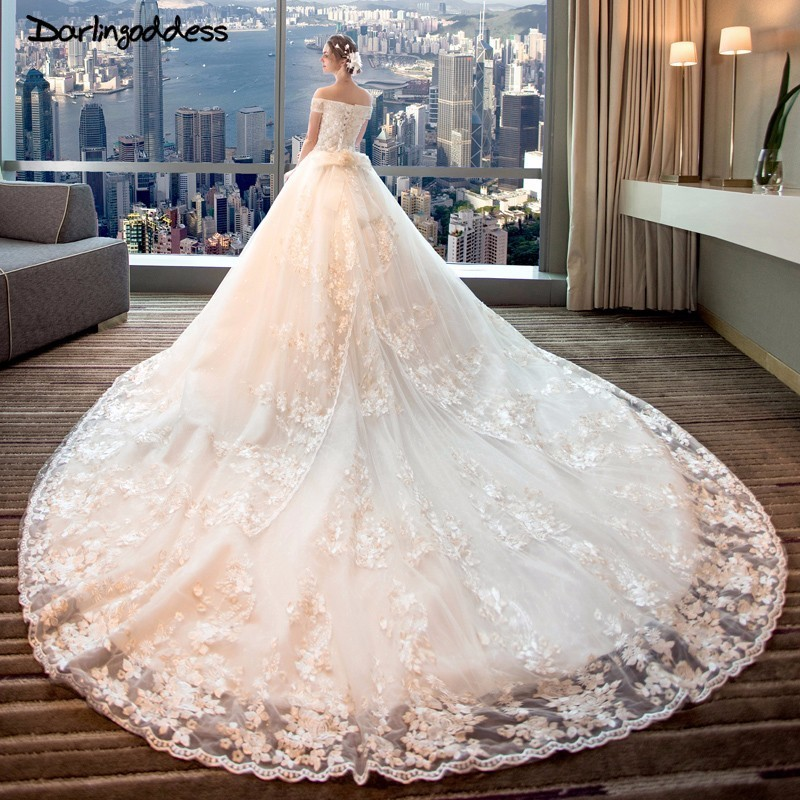 Vestidos De Novia Luxury Lace Princess Wedding Dress 2018 Ball Gown Embroidery Elegant Wedding Dresses Plus Size Robe De Mariage