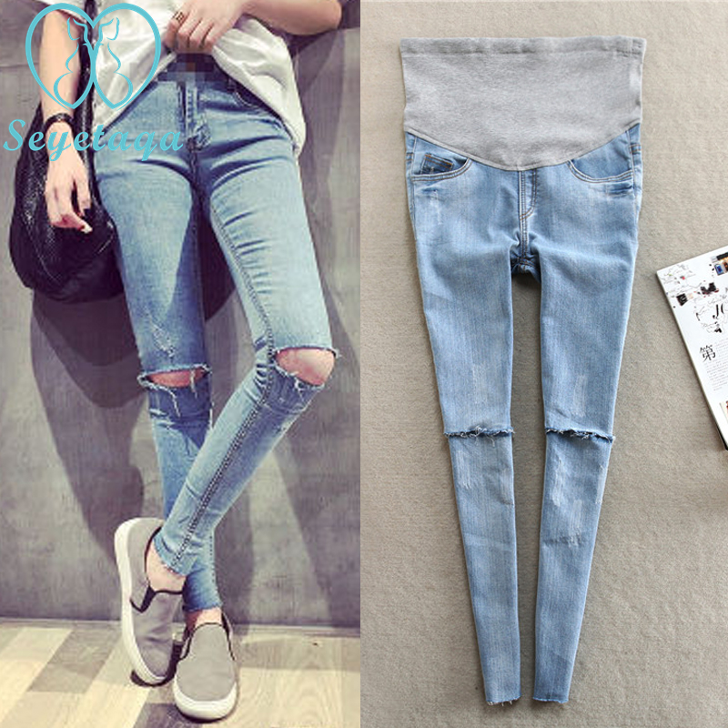 632# Light Blue Hole Denim Maternity Jeans Pants 2017 Spring Summer Clothes for Pregnant Women Pregnancy Belly Pencil Trousers winter velour maternity jeans for pregnant women belly jeans pregnancy elastic waist pencil trousers y880