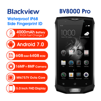 Blackview BV8000 Pro IP68 Waterproof Cellphone MTK6757V Octa Core Android 7.0 Mobile Phone 5.0 FHD 6GB RAM 64GB ROM 4000mAh NFC