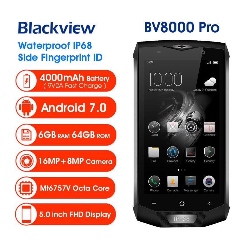 Blackview BV8000 Pro IP68 téléphone portable étanche MTK6757V Octa Core Android 7.0 téléphone portable 5.0