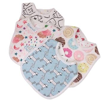 30*22.5cm New Infant Baby Girl Boy Bib Kid Toddler Dinner Food Feeding Bibs Double-deck 100% Cotton Burp Cloths Saliva Towel 1