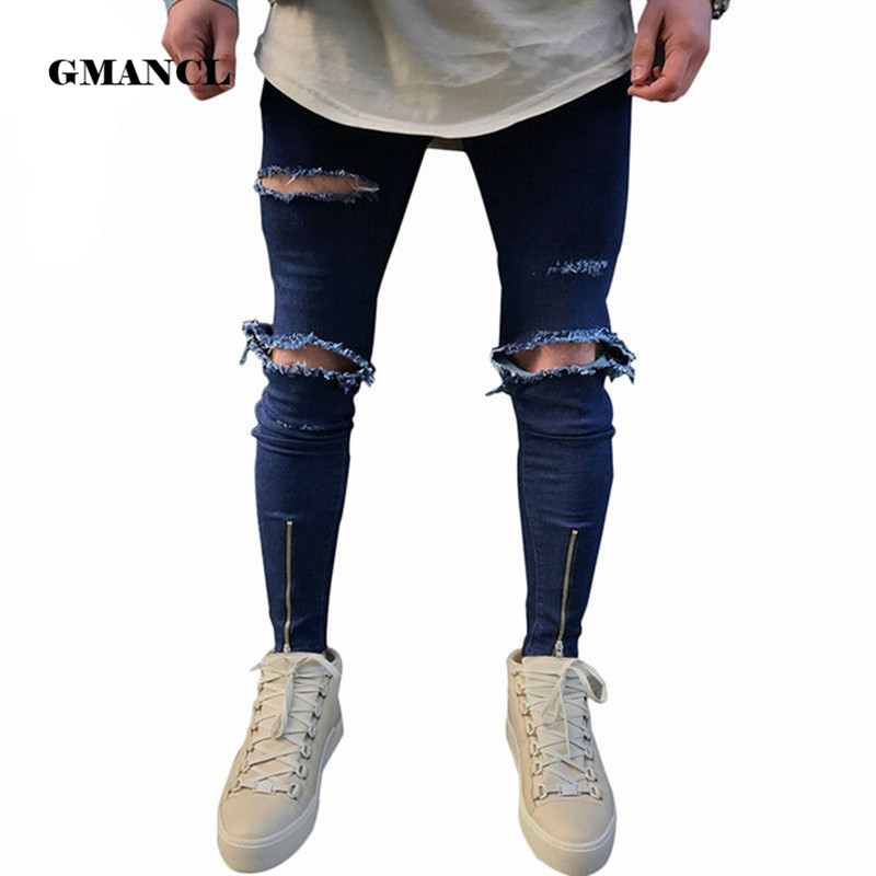 Street Fashion Hiphop Male Slim Fit Jeans Men Knee Big Hole Denim Trouser Ripped Beggars Punk Gothic Blue Washed Jeans Costumes