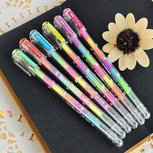 10 pçs/lote Rainbow gel caneta Coréia Do Sul Papelaria Criativa Caneta Multicolor Novidade 6 in1 Highlighter Colorido Material Escolar