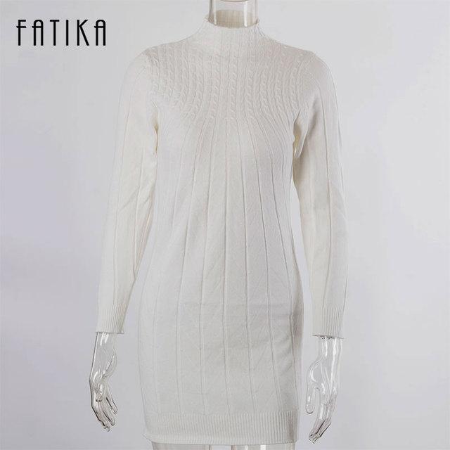 FATIKA 2016 Winter Autumn Women Sweater Dresses Long Sleeve Knitted Wool Sweater Dress Female Turtleneck Mini Slim Dress Woman
