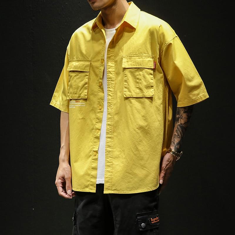 Hot 2019 Summer New Fashion Brand Clothing Men Short Sleeve Shirt Turn-Down Collar Slim Fit Shirt Cotton Casual Shirts Men 4xl