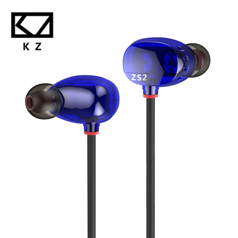 Original KZ ZS2 New and High Quality Dark Blue Wired Headset Earphone Without Mic  Earbuds Stereo Surround For Mobile Phone велосипед altair city high 28 19 2015 dark blue