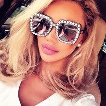 Блестящие алмазные солнцезащитные очки для женщин, фирменный дизайн, блестящие квадратные оттенки, женские зеркальные солнцезащитные очки, солнцезащитные очки, блестящие стразы